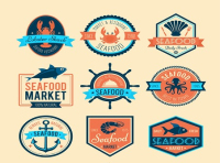 9 creative seafood market label vector